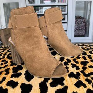 Brown booties with heel